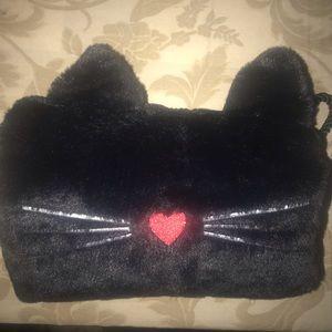 Girl's Black Kitty Cat Hand Warmer Muff